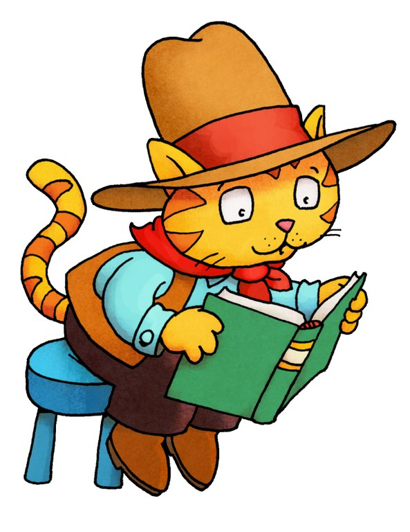 cowbow cat reading