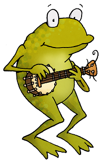 Banjo playing frog
