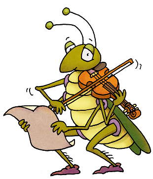 grasshopper playing fiddle