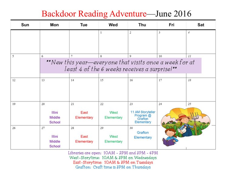 Backdoor Reading Adventure June 2016 Calendar