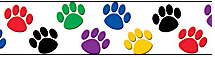 cropped colored paw prints