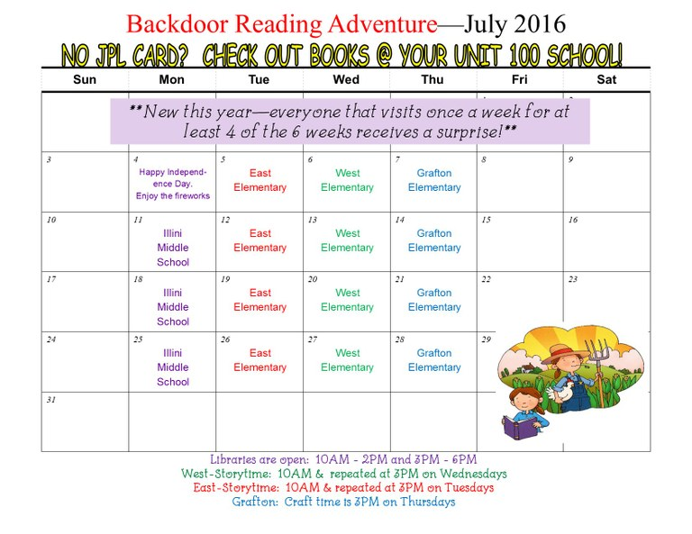 SRC Backdoor reading adventure July 2016 calendar