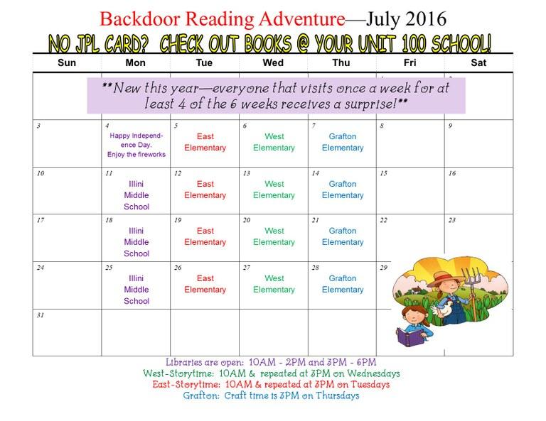 SRC Backdoor reading adventure July 2016 calendar