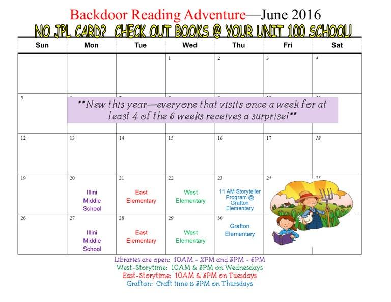 SRC Backdoor reading adventure June 2016 calendar